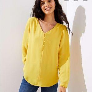 LOFT Plus V-Neck Long Sleeve Blouse Safron Thread